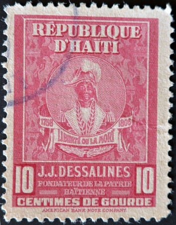HAITI - CIRCA 1945: A stamp shows Jean Jacques Dessalines was a leader of the Haitian Revolution and the first ruler of an independent Haiti under the 1801 constitution, circa 1945.  photo