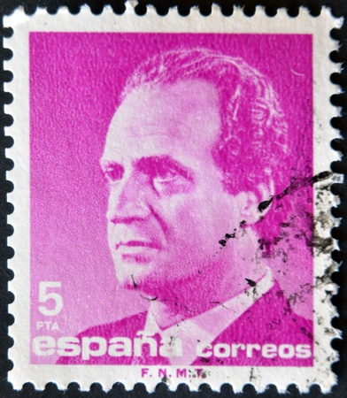 SPAIN-CIRCA 1985: A stamp printed in Spain shows the King of Spain Juan Carlos I, circa 1985  Stock Photo - 11581887