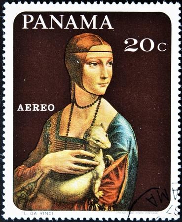 gronostaj: PANAMA - OKOŁO 1967: Stempel drukowane w Panamie pokazuje obraz Leonarda da Vinci - Dama z gronostajem, ok. 1967 Zdjęcie Seryjne