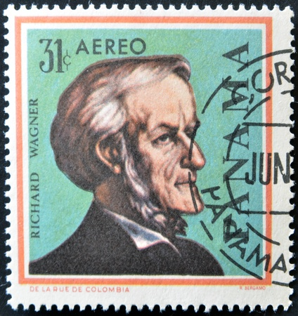 PANAMA - CIRCA 1966: A stamps printed in Panama, shows a German composer Richard Wagner, circa 1966