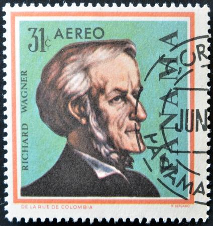richard: PANAMA - CIRCA 1966: A stamps printed in Panama, shows a German composer Richard Wagner, circa 1966