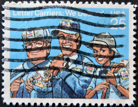 UNITED STATES OF AMERICA - CIRCA 1989: A stamp printed in USA dedicated to letter carriers, circa 1989 Stock Photo - 11581978