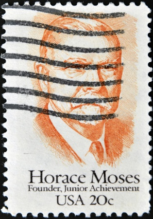 horace: UNITED STATES OF AMERICA - CIRCA 1984: A stamp printed in USA shows Horace Moses, circa 1984 Stock Photo