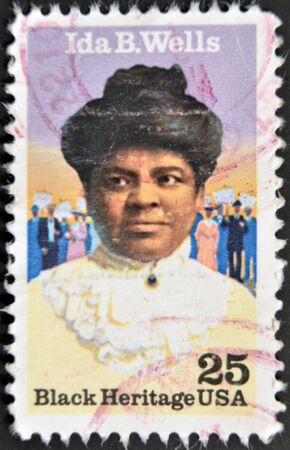 UNITED STATES OF AMERICA - CIRCA 1990: A stamp printed in USA shows Ida B. Wells, black heritage serie, circa 1990 Stock Photo - 11581940