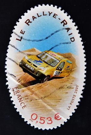 FRANCE - CIRCA 2005: A stamp printed in France dedicated to the rallies, circa 2005 Stock Photo - 11581941
