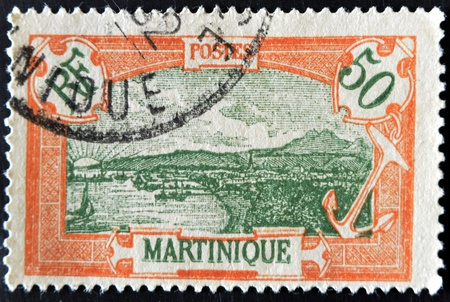 martinique: FRANCE - CIRCA 1950s: A stamp printed in France shows Martinique, circa 1950s Stock Photo