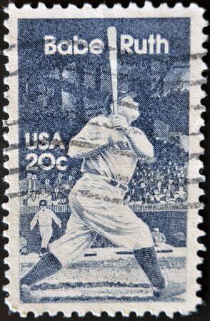 babe: UNITED STATES OF AMERICA - CIRCA 1983: a stamp printed in the USA shows image of baseball great Babe Ruth, circa 1983  Stock Photo