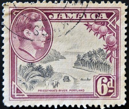 JAMAICA - CIRCA 1964: A stamp printed in Jamaica shows image of prietsman´s river, portland, circa 1964 Stock Photo - 11581966