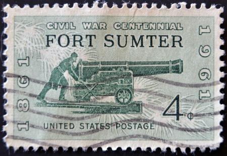 civil war: UNITED STATES OF AMERICA - CIRCA 1961: A stamp printed in the USA shows Civil War Centennial Fort Sumter, circa 1961