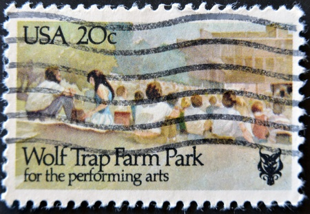 UNITED STATES - CIRCA 1982: stamp printed by Umited States, shows Wolf Trap Farm Park for Performing Arts, circa 1982  photo