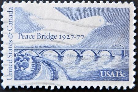 USA - CIRCA 1955 : A stamp printed in the USA shows Peace Bridge, circa 1955  photo