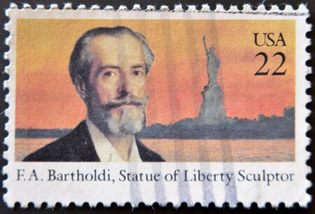 UNITED STATES - CIRCA 1985: A stamp printed in USDA shows F.A.Bartholdi, Statue of Liberty Sculptor, circa 1985