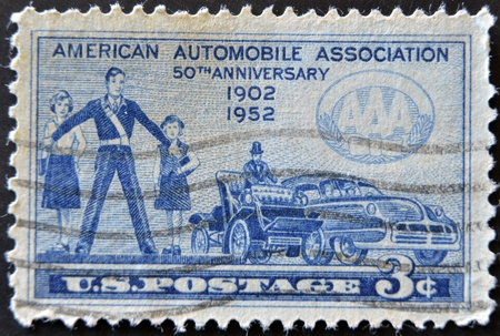 USA - CIRCA 1952: A stamp printed in the USA showing American Automobile Association, circa 1952  photo