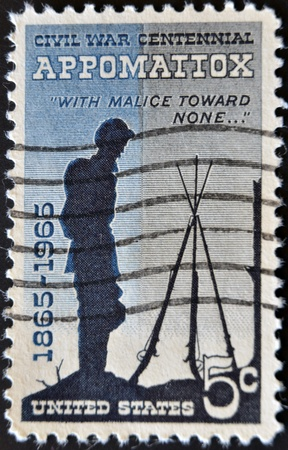 civil war: UNITED STATES - CIRCA 1961: stamp printed by United states, shows Battle of the Wilderness, Appomattox, circa 1961