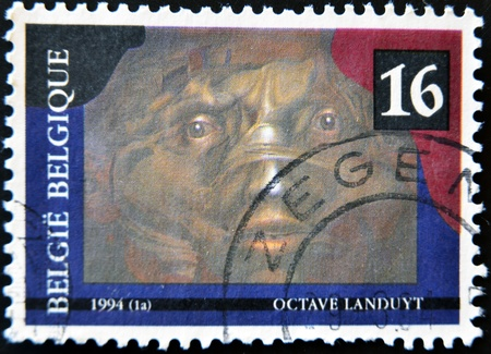 malleable: BELGIUM - CIRCA 1994: A stamp printed in Belgium shows the play The darkness malleable, Octave Landuyt, circa 1994
