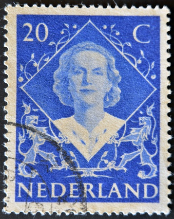 NETHERLANDS - CIRCA 1948: A stamp printed in the Holland shows image of Queen Juliana, circa 1948