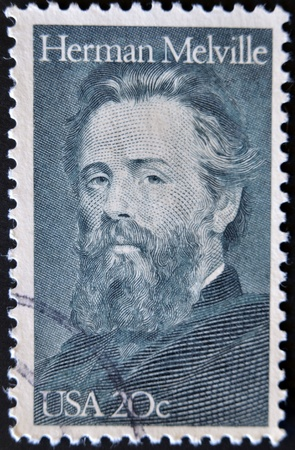 herman: UNITED STATES OF AMERICA - CIRCA 1984 : A stamp printed in the USA shows Herman Melville, circa 1984  Editorial