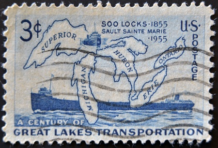 SA - CIRCA 1956 : A stamp printed in the USA shows A Century of Great Lakes Transportation, circa 1956