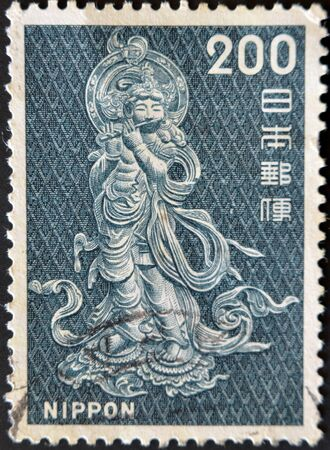 collectible: JAPAN - CIRCA 1970: A  stamp printed in Japan shows mythical japanese hero, circa 1970