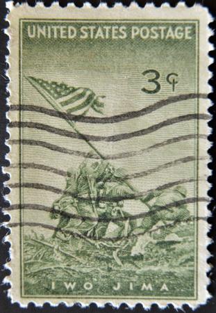 UNITED STATES OF AMERICA - CIRCA 1945 : A stamp printed in the USA shows Iwo Jima, circa 1945