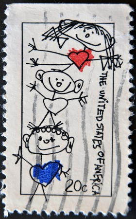 UNITED STATES OF AMERICA - CIRCA 1984: A stamp printed in USA shows stick figures, circa 1984 photo