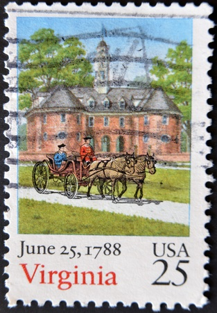 UNITED STATES - CIRCA 1988: A stamp printed in USA dedicated to Virginia, shows Church, carriage and horse, circa 1988  photo