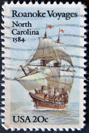 USA - CIRCA 1984 : A stamp printed in the USA shows Roanoke Voyages North Carolina 1584, circa 1984  photo