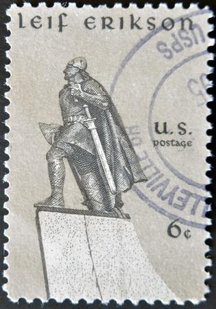 erikson: USA - CIRCA 1968 : A stamp printed in the USA shows Leif Erikson, circa 1968  Stock Photo
