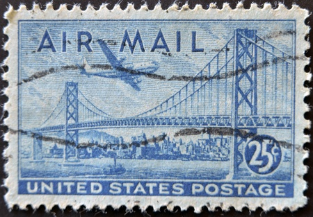 UNITED STATES OF AMERICA - CIRCA 1947: A stamp printed in the USA shows image of the Golden Gate Bridge, circa 1947  photo
