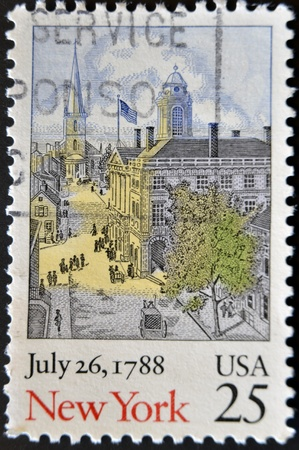 USA - CIRCA 1988: A stamp printed in USA shows image of the dedicated to New York , July 26, 1788 circa 1988.  photo
