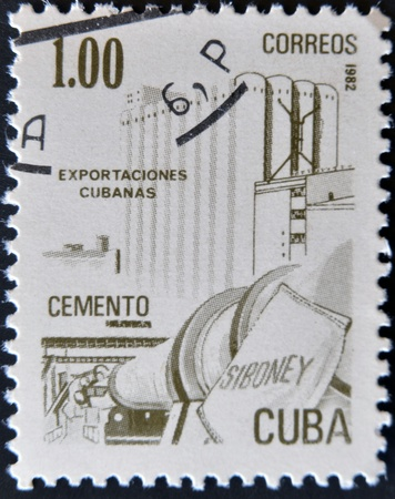 honored: CUBA - CIRCA 1982: A stamp printed in Cuba honored Traditional Cuban exports shows cement, circa 1982