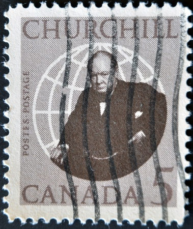 CANADA - CIRCA 1965: stamp printed in Canada shows Winston Churchill, circa 1965