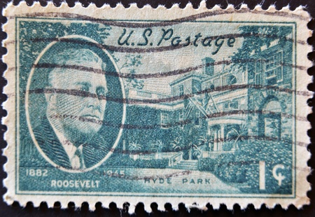 USA - CIRCA 1945: A stamp printed in the USA shows Roosevelt portrait, Hyde Park, 1882-1945, circa 1945
