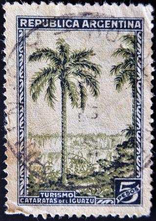 ARGENTINA - CIRCA 1946: A stamp printed in Argentina shows Iguazu Falls, tourism, circa 1946 Stock Photo - 11582438