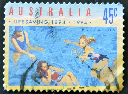 AUSTRALIA - CIRCA 1994: A stamp printed in Australia dedicated to lifesaving, education, circa 1994  Stock Photo