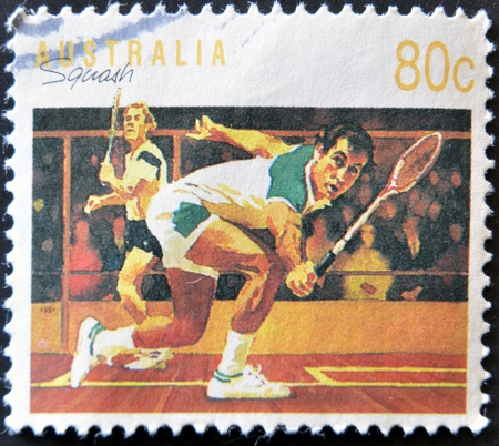 AUSTRALIA - CIRCA 1991: A stamp printed in Australia dedicated to squash, circa 1990  photo