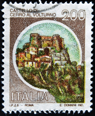 mount price: ITALY - CIRCA 1980: A stamp printed in Italy, shows castle of Cerro al Volturno, Isernia, Italian series of castles , circa 1980  Stock Photo