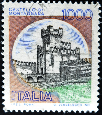 cancelled stamp: ITALY - CIRCA 1980: A stamp printed in Italy, shows the Castle of San Zeno, Italian series of castles , circa 1980  Stock Photo