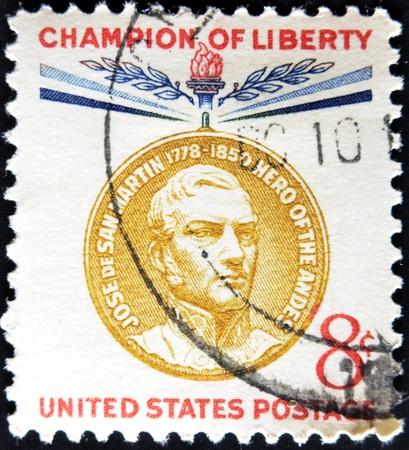 jose de san martin: UNITED STATES - CIRCA 1959: stamp printed by United states, shows Jose de San Martin, circa 1959