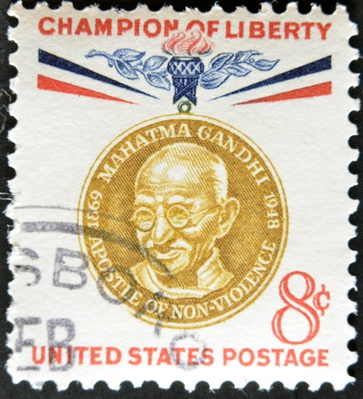non violence: UNITED STATES - CIRCA 1960: stamp printed by United states, shows Mahatma Gandhi, circa 1960