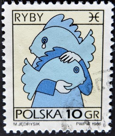 POLAND - CIRCA 1996: A stamp printed in Poland shows Zodiac sign, pisces, circa 1996  photo