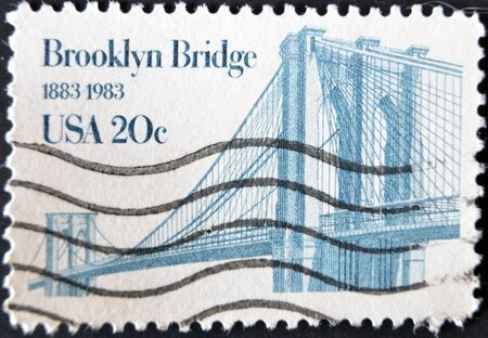 UNITED STATES OF AMERICA - CIRCA 1983: a stamp printed in USA shows Brooklyn Bridge, centenary of Brooklyn Bridge, circa 1983  photo