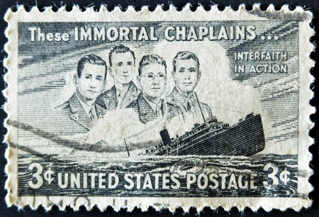 UNITED STATES - CIRCA 1947: depicting SS Dorchester sinking, inscripted