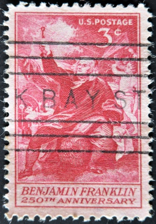 franklin: UNITED STATES OF AMERICA - CIRCA 1956: A stamp printed in the USA shows image of President Benjamin Franklin, circa 1956  Editorial