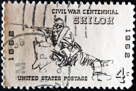 USA - CIRCA 1962: a stamp printed in the United States of America shows soldier from American civil war in the Battle of Shiloh, circa 1962  Stock Photo