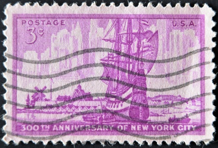 USA - CIRCA 1953 : A stamp printed in the USA shows 300th Anniversary of New York City, circa 1953  photo