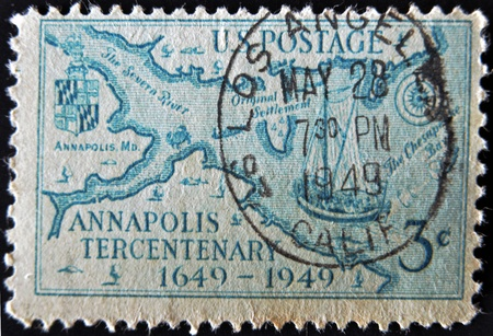 UNITED STATES - CIRCA 1949: Stamp printed by United states, shows Stoddert�s 1718 Map of Regions about Annapolis, Redrawn, circa 1949  photo