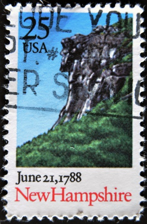 UNITED STATES - CIRCA 1988: A stamp printed in USA, honoring Constitution of the United States of America, shows view of New Hampshire, circa 1988  photo