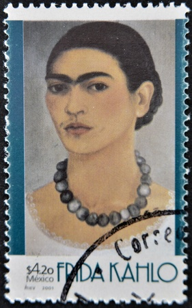 MEXICO - CIRCA 2001: A stamp printed in Mexico shows Frida Khalo, circa 2001
