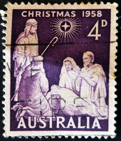 AUSTRALIA - CIRCA 1958 : A stamp printed in Australia shows birth of Jesus Christ, circa 1958  photo
